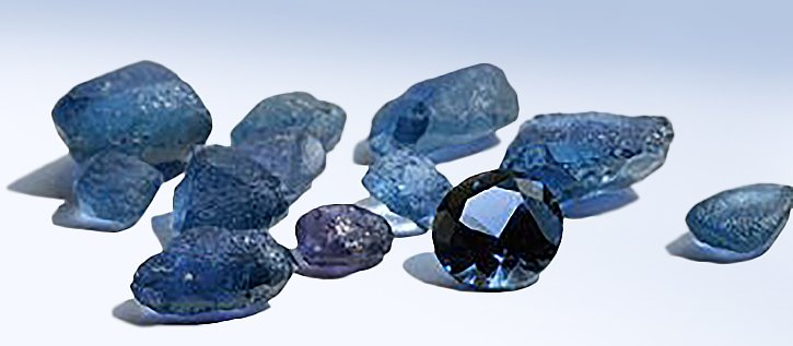 Rough and cut Yogo Sapphires