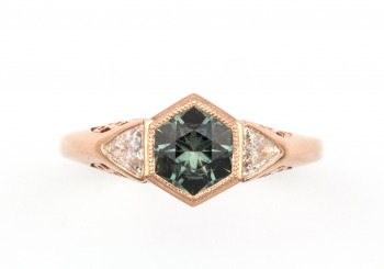 Rose Gold Fancy Montana Sapphire Ring