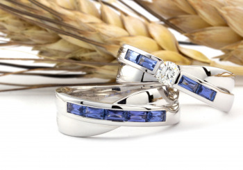 Matching Yogo Sapphire and Diamond Engagement set