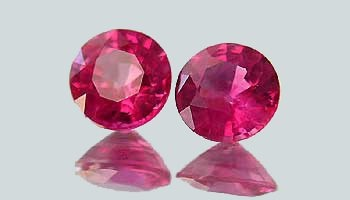 These true red sapphires, at only .05 carats each, are technically rubies and are exceedingly rare.