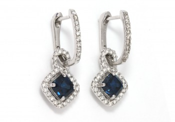 18K Sapphire and Diamond Earrings