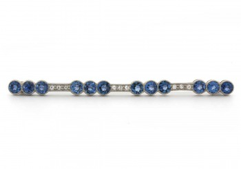 Platinum Yogo Sapphire and Diamond Estate Bar Pin