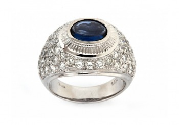 14K Yogo Sapphire and Diamond Ring