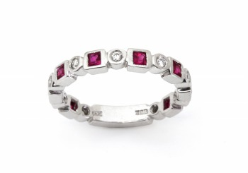 14K Ruby & Diamond Stackers