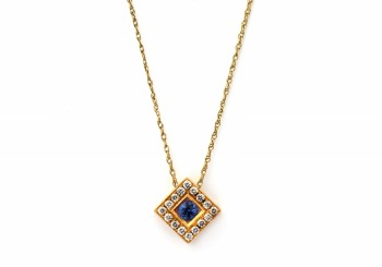 .29ct Yogo Sapphire and Diamond Pendant