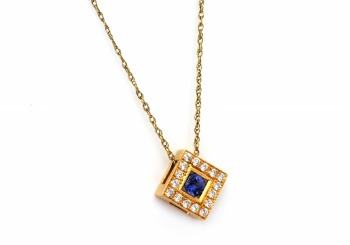 .16ct Yogo Sapphire and Diamond Pendant