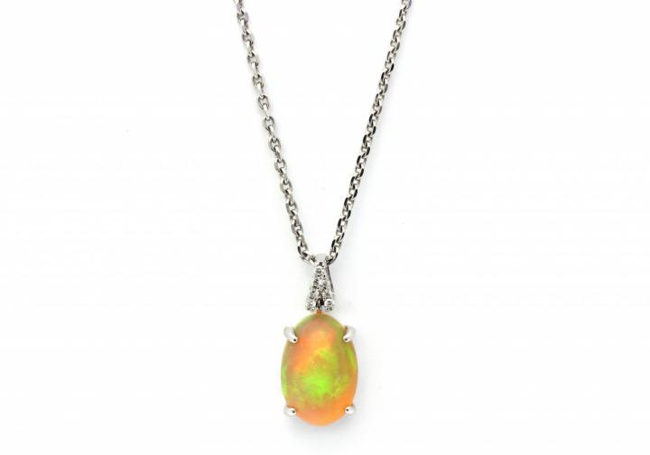 14K Opal & Diamond Pendant   Bozeman Montana Jewelry   Gem