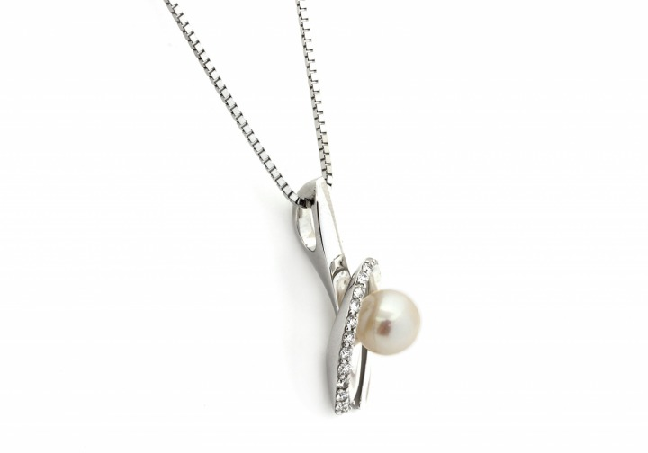 14K Pearl and Diamond Pendant