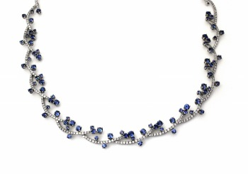 18K Yogo Sapphire and Diamond Necklace