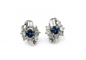 14K Montana Sapphire & Diamond Earrings