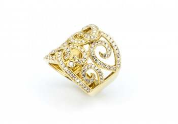 Bold 14k Yellow Gold with Diamond Accent