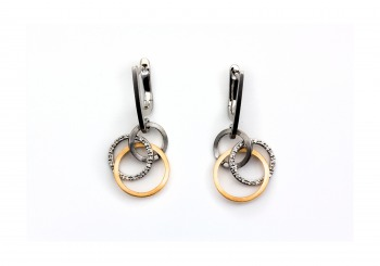 14K Diamond Two Tone Earrings