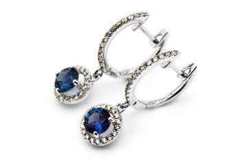 18K Fancy Montana Sapphire Earrings