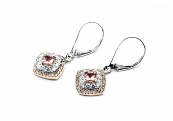 14K Morganite & Diamond Earrings