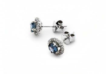 18K Fancy Montana Sapphire Earrings 18K Fancy Montana Sapphire and Diamond Earrings