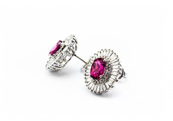 18K Ruby Tourmaline and Diamond Earrings