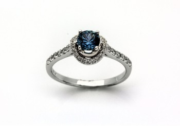 14K Fancy Montana Sapphire & Diamond Ring