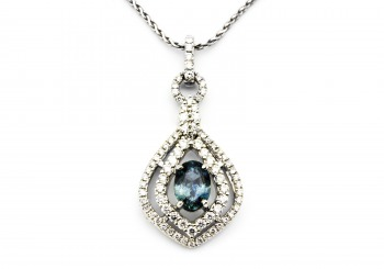 18K Fancy Sapphire and Diamond Pendant