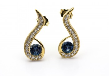 14K Fancy Montana Sapphire Earrings