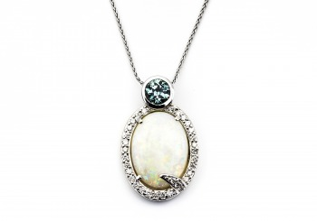 14K Opal, Fancy Montana Sapphire and Diamond Pendant