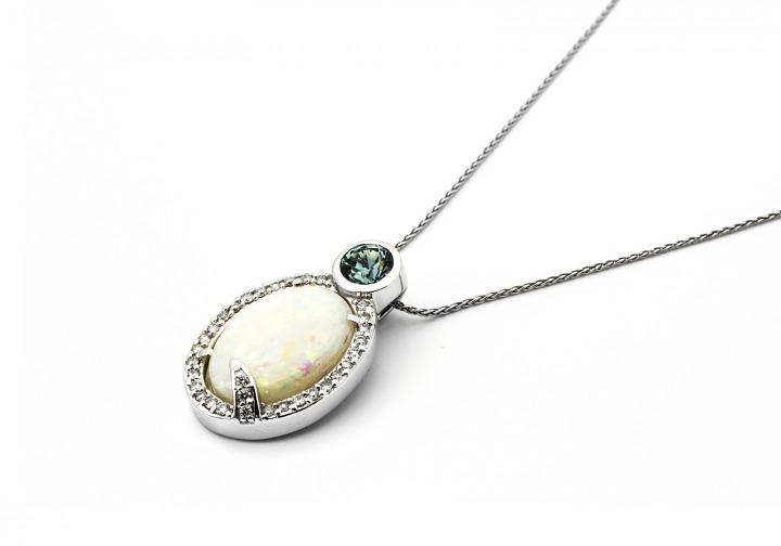 14K Opal & Montana Sapphire Pendant   Bozeman Montana