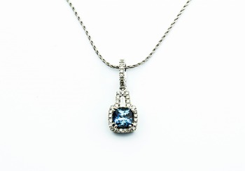 14K Fancy Montana Sapphire and Diamond Pendant