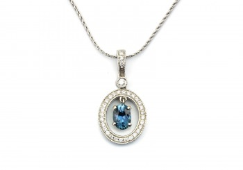 14K Fancy Sapphire and Diamond Pendant
