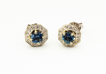 14K Fancy Montana Sapphire & Diamond Stud Earrings