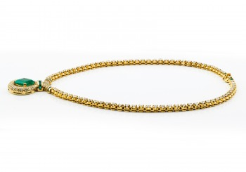 18K Emerald & Diamond Necklace