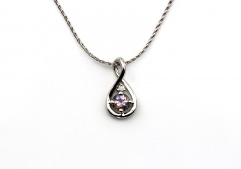 Sterling Silver Fancy Montana Sapphire & Diamond Pendant