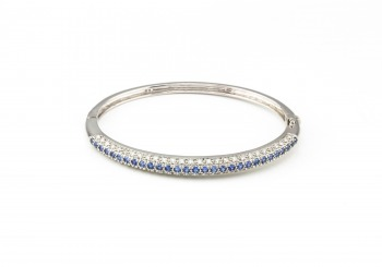 14K Yogo Sapphire & Diamond Hinged Bangle