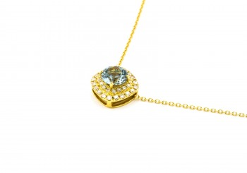 14K Fancy Montana Sapphire & Diamond Necklace