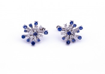 18K Yogo Sapphire and Diamond Earrings