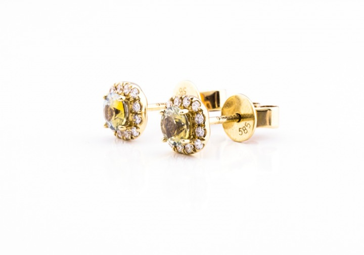 14K Montana Sapphire & Diamond Stud Earrings