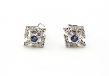14K Yogo Sapphire & Diamond Earrings