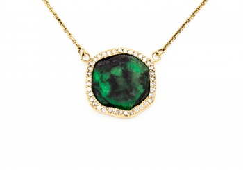 14K Emerald & Diamond Necklace