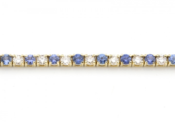 14k Yogo Sapphire and Diamond Tennis Bracelet