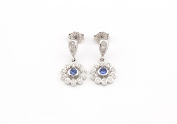14k White Gold Yogo Sapphire Drop Earrings