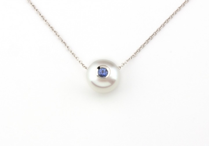 14k Yogo Sapphire and Pearl Necklace