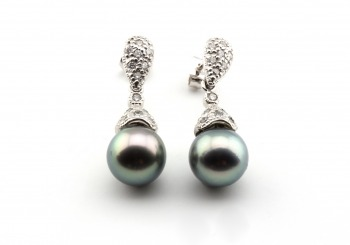 14k Tahitian Pearl and Diamond Drop Earrings