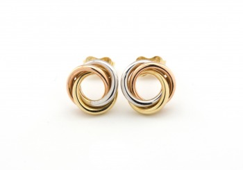 14k Tri-Tone Knot Earrings