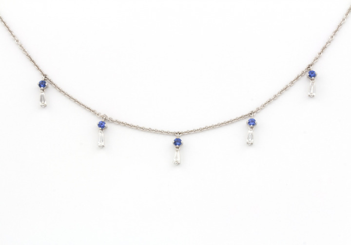14k Yogo Sapphire and Diamond Necklace