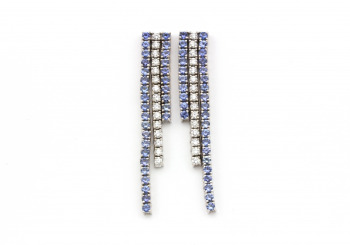14k Yogo Sapphire and Diamond Drop Earrings