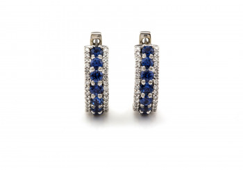14K Yogo Sapphire & Diamond Hoop Earrings