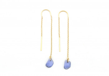 14 Tumbled Yogo Sapphire Fashion Earrings