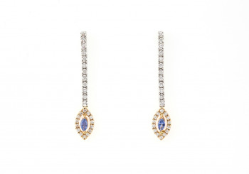 14k Yogo and Diamond Drop Earrings
