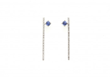 14k Yogo Sapphire and Diamond Earrings