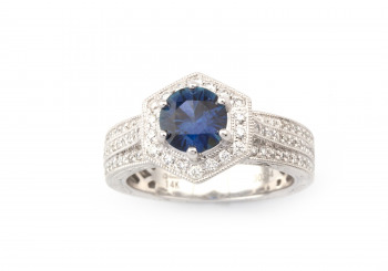 14k Fancy Montana Sapphire and Diamond Ring