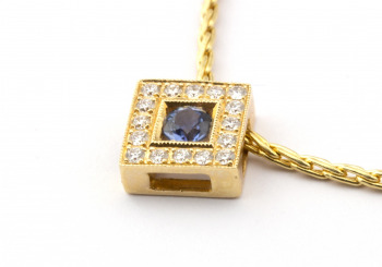 .13ct Yogo Sapphire and Diamond Pendant