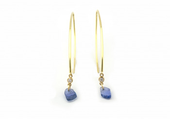 14k Tumbled Yogo Dangle Earrings